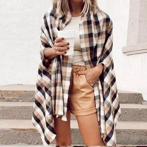Sandy Plaid Gingham Batwing Relaxed Cape Coat